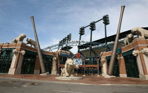 Comerica Park entrance. Just the outside of the stadium is as good as a zoo or a museum.