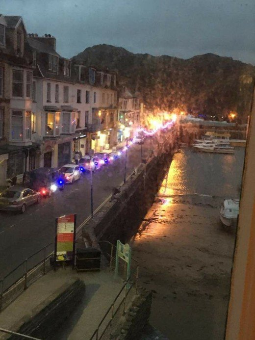 Ilfracombe harbour lit up at night as seen from Room 33 in The Royal Britannia.