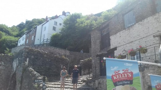 A photograph taken by yours truly in Clovelly. The cobbled path down to the harbor was probably the most challenging walk I've ever done.