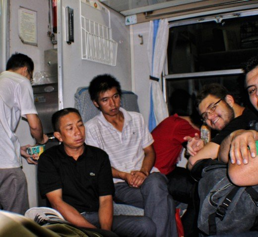 This is  the real photo of me inside the train, sharing with the other people.