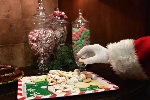 Most families put out a plate of cookies and a cup of cocoa for Santa's visit.  It looks like this household went all out to fatten him up.