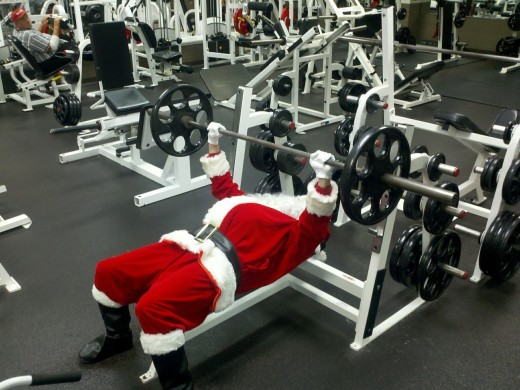 Here's Santa working off those extra pounds gained from all those cookies on Christmas Eve.