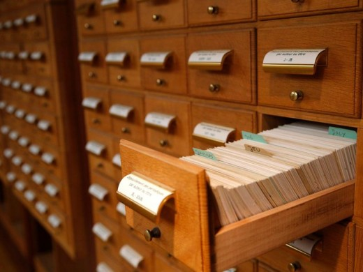 A typical card catalog
