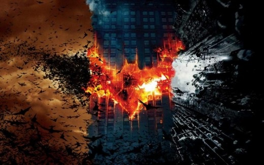 The cover of Batman Begins, The Dark Knight and The Dark Knight Rises (from left to right).