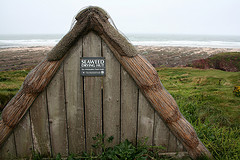The Seaweed Drying Hut on the Beach at FreshWater East in West Wales,
