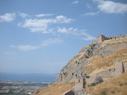 Acrocorinth, and you can see where the ocean is in the distance as well.