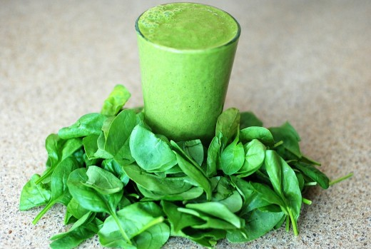 Smoothie and leafy greens