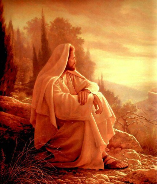 Christ spending quiet time for reflection and stillness with his father.