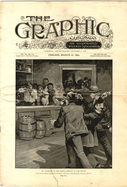 """""""An Incident of the Race Conflict in the South.""""  Cover of The Graphic Chicago, March 26, 1892, depicting the lynch mob entering the People's Grocery."""