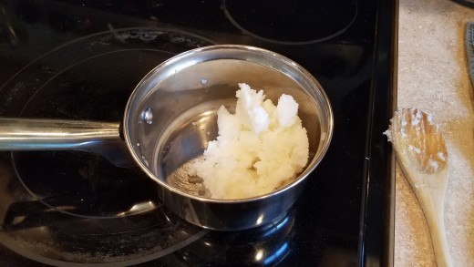 Melt 1 cup in a saucepan on the stove over medium low heat.