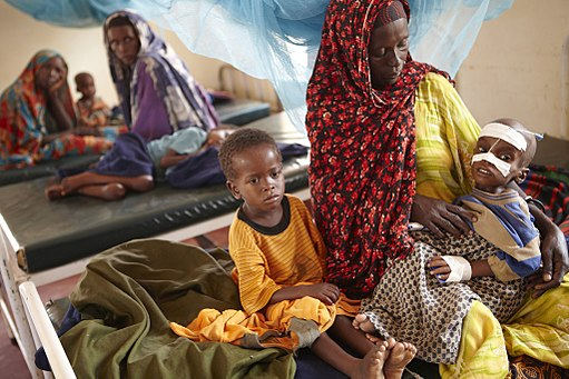 Luli Hassan Ali looks after her severely malnourished four-year-old son, Aden, and his six-year-old brother Mohammed, in a clinic in the Dagahaley camp in Dadaab.