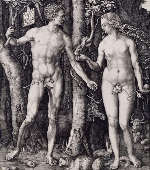 Albrecht Dürer: Adam and Eve (Copper Engraving 1504)