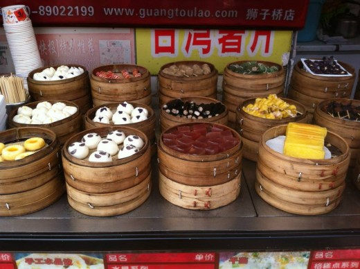 Savory and sweet snacks in a local market in Nanjing, China.