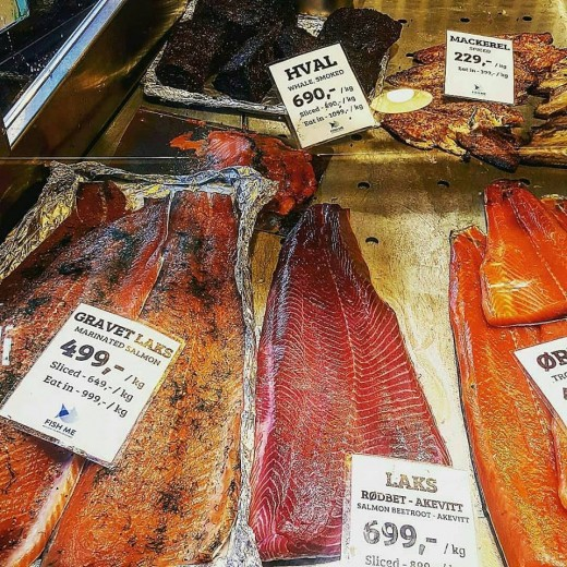 At the local fish market in Bergen, Norway, you can find anything.  At least 40 varieties of smoked salmon fill the ice layered coolers. Whale meat, both cured and raw is sold by the pound.  Huge tanks contain lobsters and king crabs.