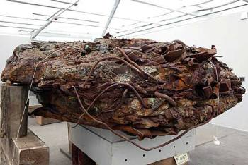 Fused steel and concrete formation found at Ground Zero