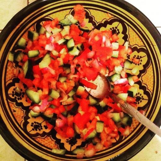 Moroccan cucumber, tomato and onion chlada (salad).