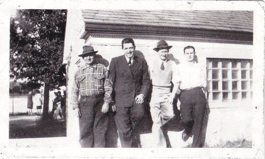 From left to right: grandpa Kuehn, aunt Marie's husband Chuck Hyland, uncle Augie, and uncle Dick.