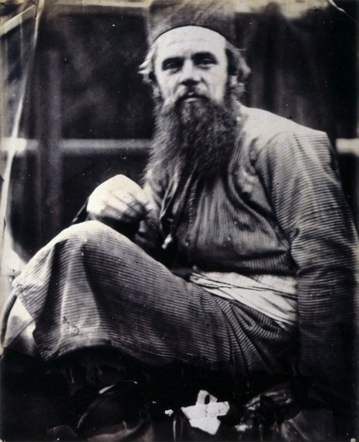 William Holman Hunt in his Eastern Dress. Taken on the lawn of Brent Lodge, Hendon.   May 1864