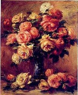 'Roses in a vase' by Renoir