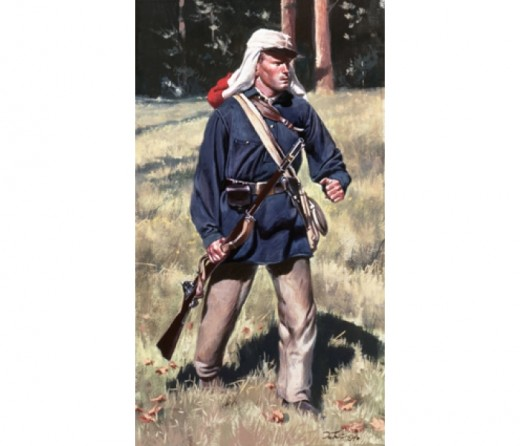 1st Rhode Island militiaman - note the gray trousers