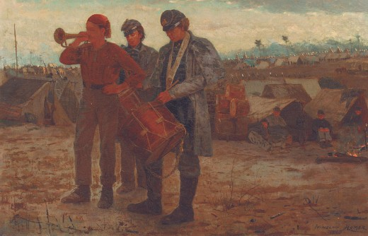 Painting of Bugler Blowing Reveille