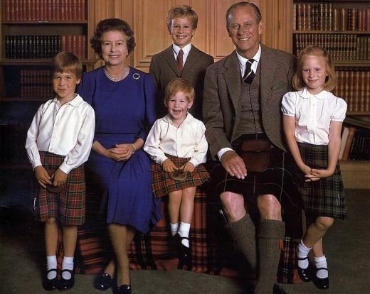 Queen Elizabeth, Prince Philip with grandchildren Prince William, Prince Harry, Prince Peter, Princess Zara
