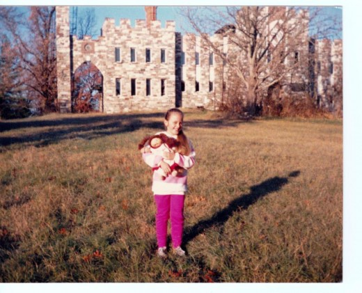 Our daughter, Cindy, standing in front of Stuart's Castle - 1985