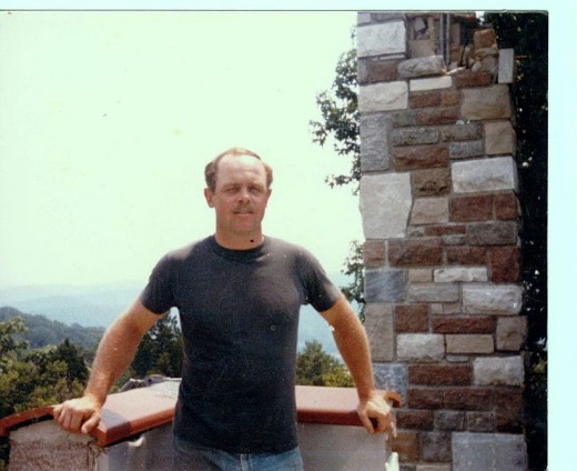 Me, on top of Stuart's Castle, standing beside a battlement -1985