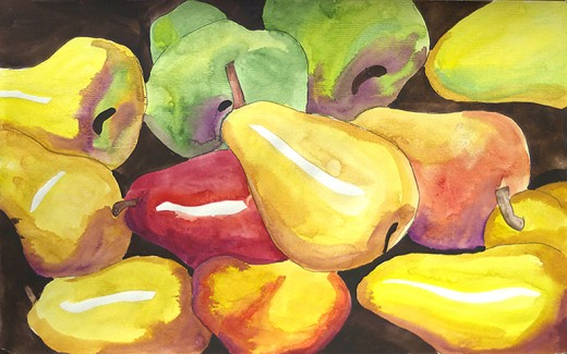 My watercolor of pears.