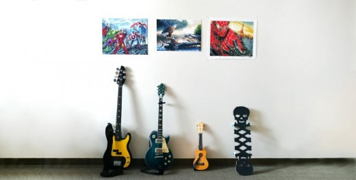 Left to right, top to bottom: projects I did in 2017–2018: Avengers Acrylic Painting Mar 2018, Eagle Acrylic Painting Jan 2018, SpiderMan Dec 2018, Batman P-Bass Guitar Sep 2017, Gibson Les Paul Aug 2017, Ukulele Jul 2017, Skull Skateboard Jan 2018