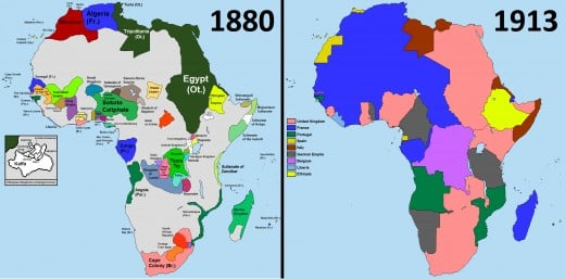 The differences between the left and right are rather stunning, but throughout the world, not just in Africa, European colonialism reached its highest, and ultimately unsustainable, stage in the years before the First World War.