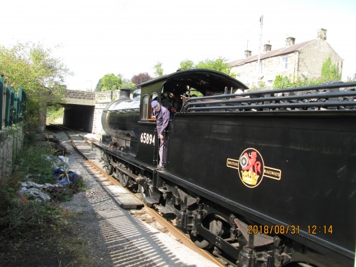 ...And we're away, on to Redmire at the present end of the line. On the footplate were driver Terry Newman, fireman Pete James and cleaner Tom Noble, who was given a chance to show his mettle as fireman for this short stretch