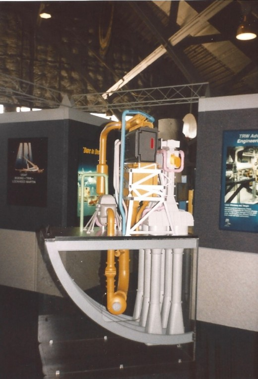 A cutout model of an airborne laser component, Andrews AFB, May 1998.