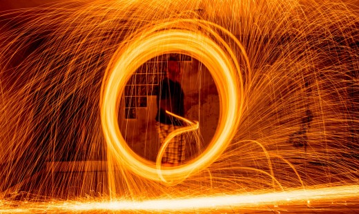 A classic light painting photography is made with bulb mode