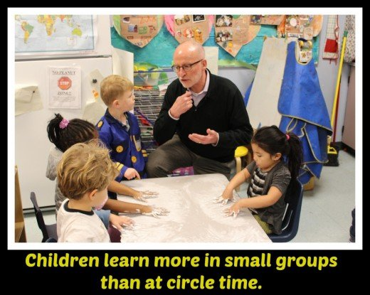 Teachers do the vast majority of talking at circle time, but small group activities allow for a more even exchange.