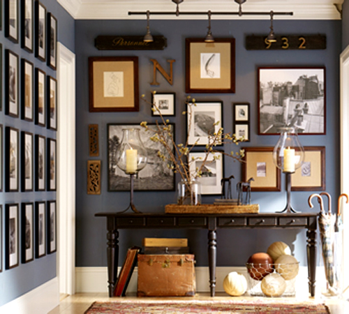 Gallery walls defy the rule of hanging artwork at eye level.