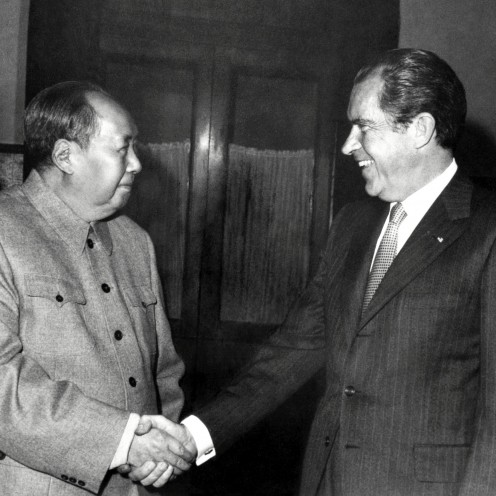U.S. President Richard Nixon's with Chinese President Mao Zedong on his visit to China in 1972