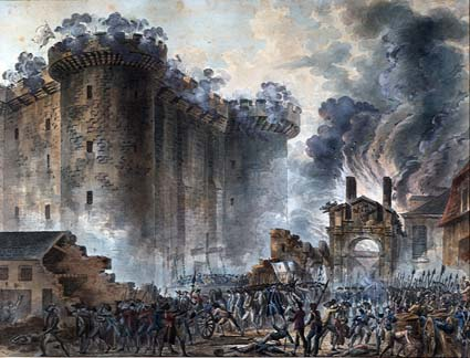 A painting depictingThe Storming of Bastille Prison on 14th july 1789