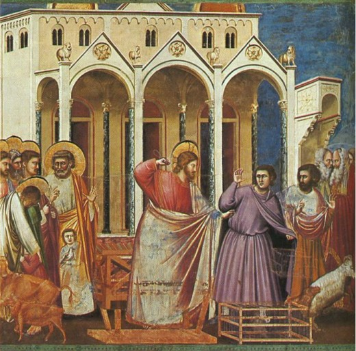Artistic interpretaion of Jesus casting out the money lenders