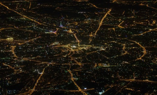 Moscow at night.  Arteries and nerves look much the same.