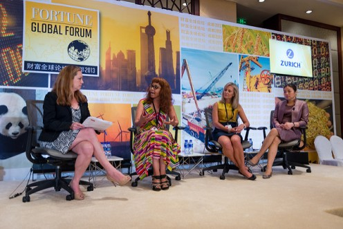 Business Panelists in Fortune Global Forum 2013, left to right: Jennifer Reingold, Bridgette Radebe (Executive Chairperson, Mmakau Mining),Deborah Lehr,  Huaying Zhang,