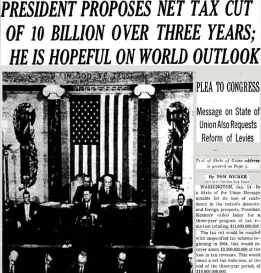 Newspaper on President Kennedy's tax cuts plan after his State of the Union address in 1963