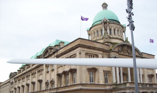 A huge wind turbine blade in Victoria Square 2017 proved a popular and unusual temporary art installation. The building in this image is Hull City Hall.