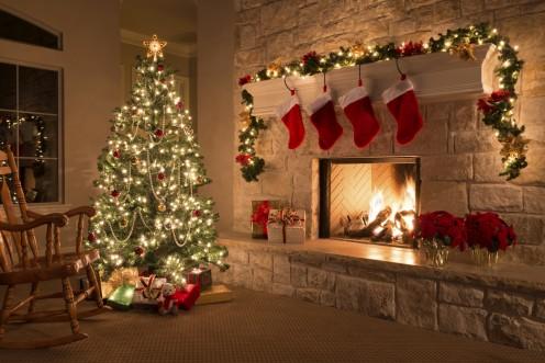A traditional Christmas Eve scene