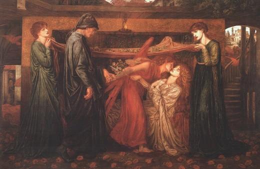 Dante's Dream at the Time of the Death of Beatrice by Artist Dante Gabriel Rossetti circa 1871