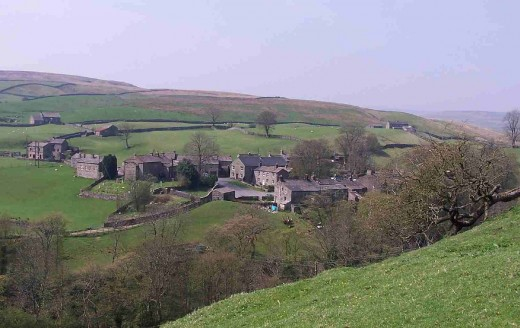 Keld, seen from the Pennine Way above Swaledale. The river rises here and flows into the Ouse north of York. In between the Ure and the Nidd flow into the Swale. It's all water, given different names at various points