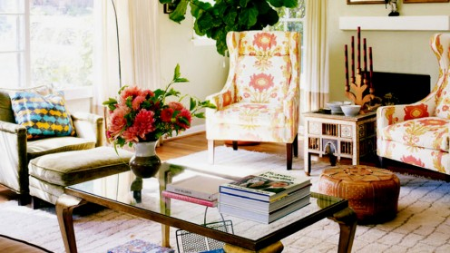 A mix of ethnic furnishings and textiles can still look exotic and cohesive.