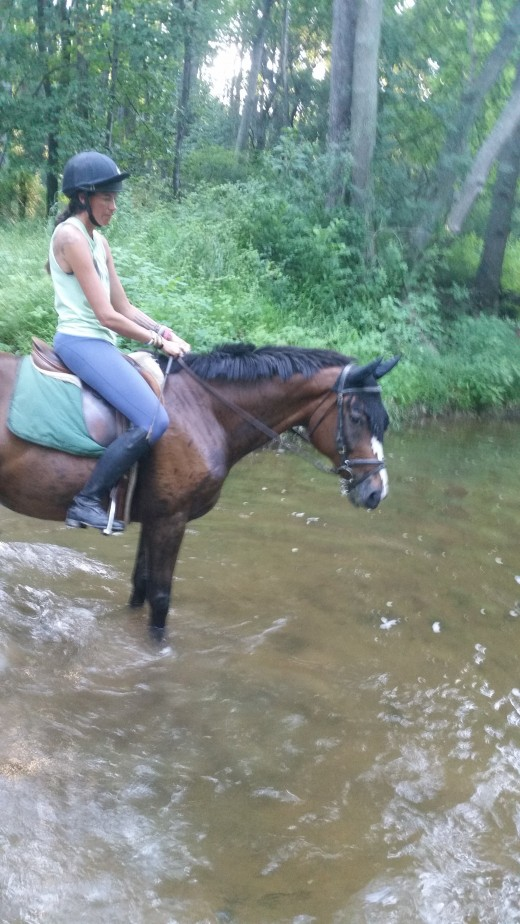 My main mane, Finn and I, in the Gunpowder River at one of our favorite trail riding spots.