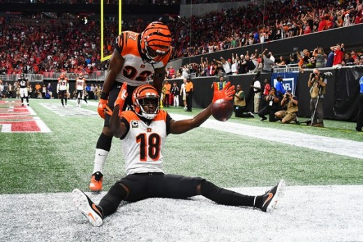 A.J. Green caught a 13 yard touchdown pass with seven seconds left, lifting the Bengals past the Falcons on Sunday