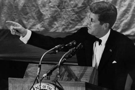 President Kennedy addressing the Economic Club of New York on December 14, 1962, making a point for tax cuts